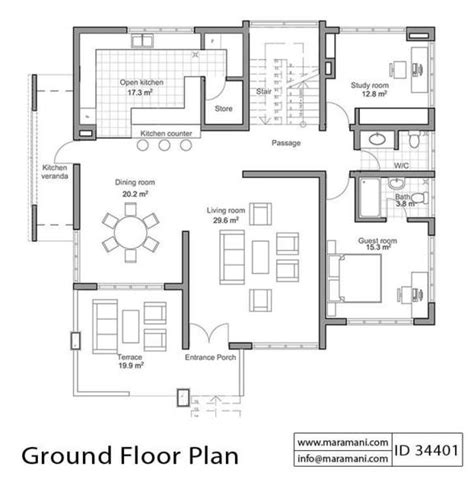 2828 ground floor plan four bedroom house for sloping ground id 34401 maramani