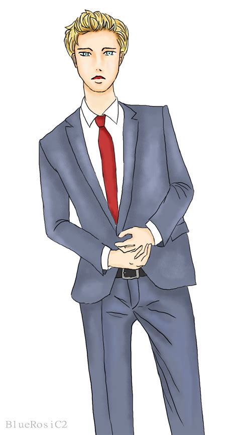 Guy In Suit By Prinnana On Deviantart Anime Boy In Suit Drawing Free