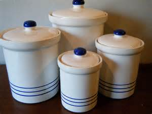 Blue And White Kitchen Canisters Set 4 White Eartenware Kitchen Canisters With Blue Stripes