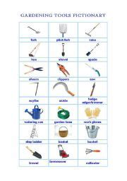 gardening tools names teaching worksheets tools