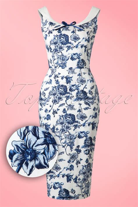 Blue And Flower Flowers S M L Dress 43431 50s maddison toile floral pencil dress in white and blue