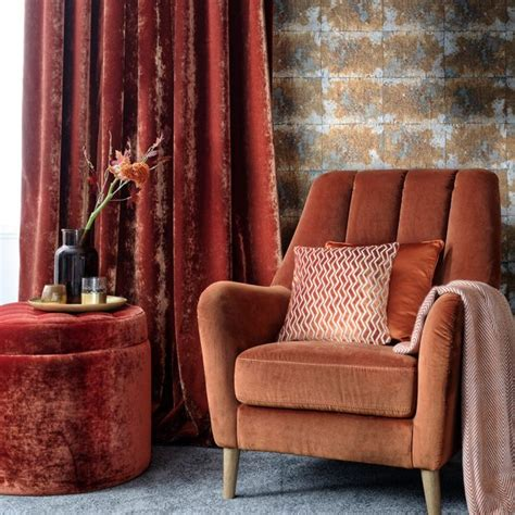 burnt orange velvet curtains modern living room pictures ideal home