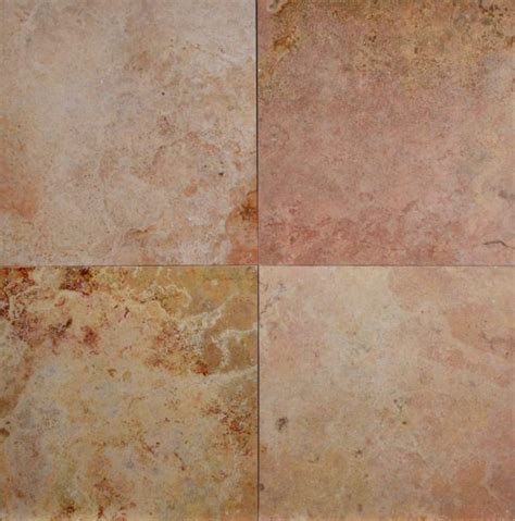 12×12 Peach Travertine Honed Filled Tile   Carved Stone