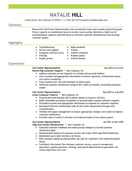 Call Center Representative Resume by Simple Call Center Representative Resume Exle Livecareer