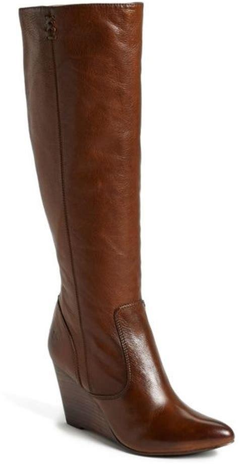 frye wedge boot in brown cognac lyst