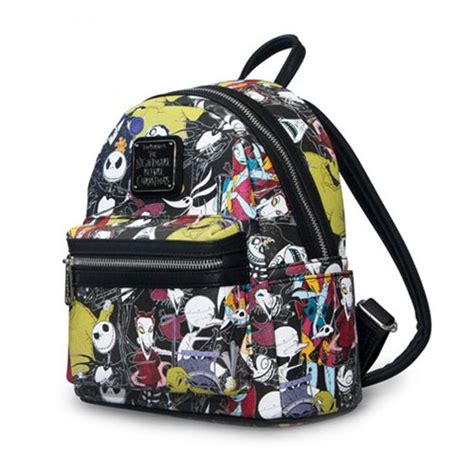nightmare before print fashion faux leather mini backpack entertainment earth