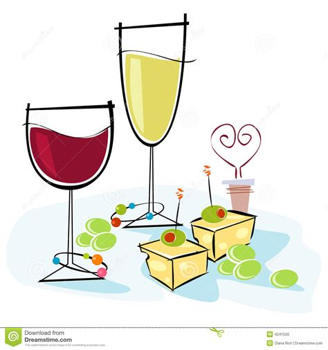 cartoon wine and cheese retro style wine cheese stock vector illustration of