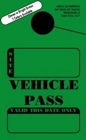 Custom Quote For In Stock Non Personalized Cground Vehicle Pass Mirror Hang Tags Visitor Parking Pass Template