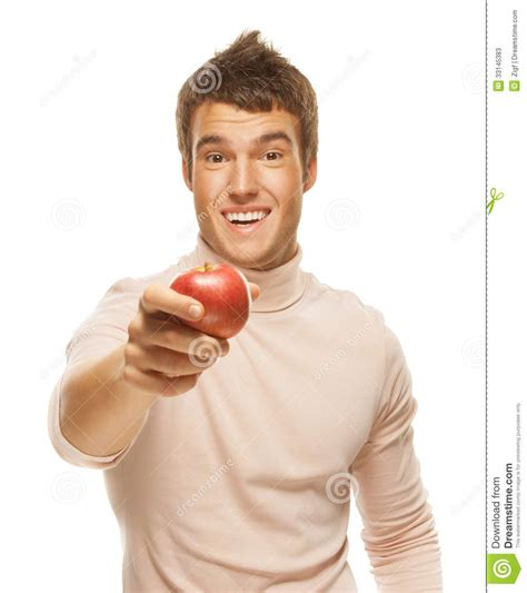 man holding portrait of young man holding red apple stock image