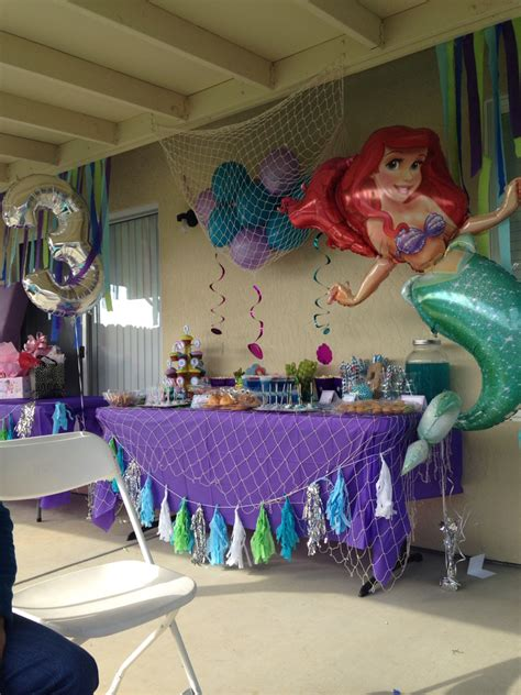 themes in girl the little mermaid candy table cute toddle birthday party