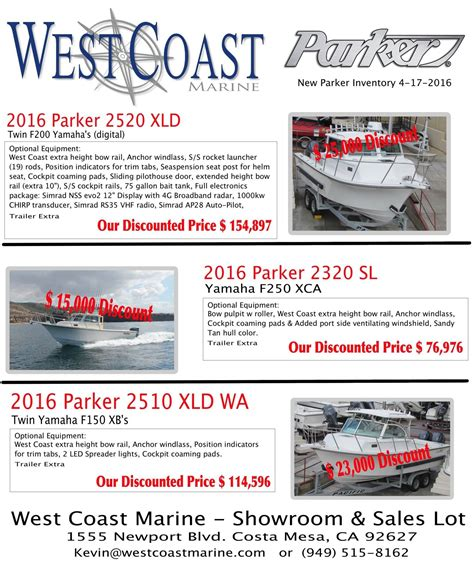 parker boats for sale west coast new parker boats at west coast marine bloodydecks