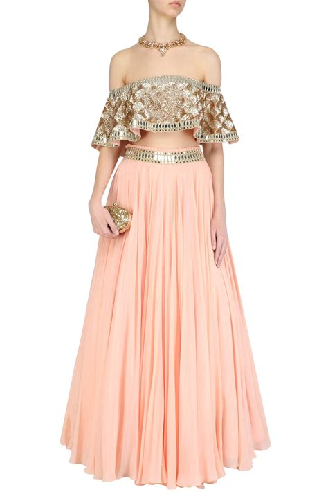 Pastel Blouse White Adelle pastel pink embroidered shoulder blouse and lehenga skirt set available only at pernia s pop