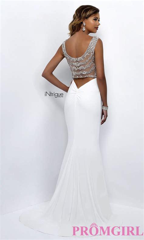 Dress White The sheer back prom dress in white promgirl