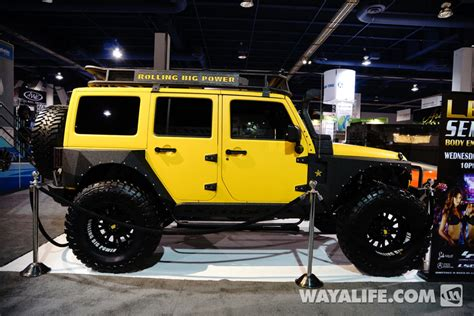 yellow jeep 4 door 2013 sema rbp yellow jeep jk wrangler 4 door