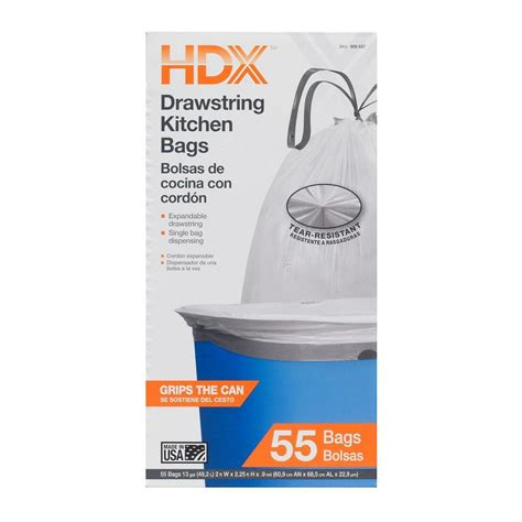 hdx 13 gal kitchen drawstring white trash bags 55 count