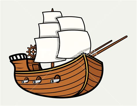 clipart old boat old vintage sea ship vector cartoon illustration stock image