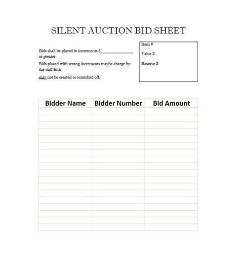 silent auction bid sheet template free printable silent auction