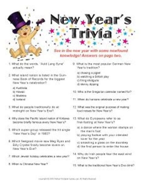 new year s trivia game new years pinterest