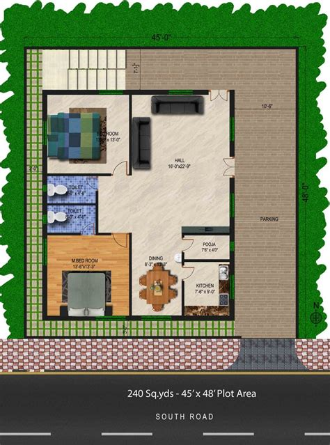 240 sq yds 45x48 sq ft south house 2bhk floor plan