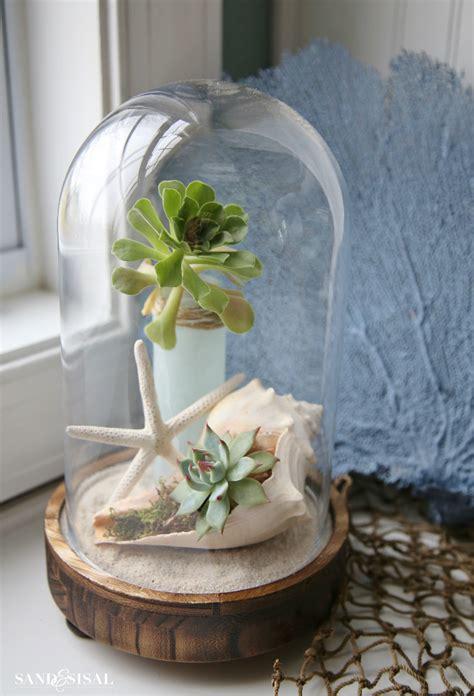 glass decorations for home coastal cloche decor ideas sand and sisal