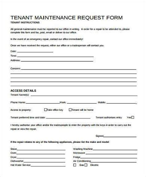 maintenance request form sles 8 free documents in word pdf