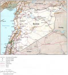 Syria On Map by Syrian Desert Physical Map Bahrain 183 Qatar 183 Syria