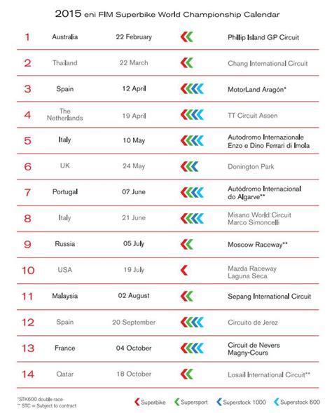 Il Calendario Sbk Ecco Il Calendario 2015 Dueruote