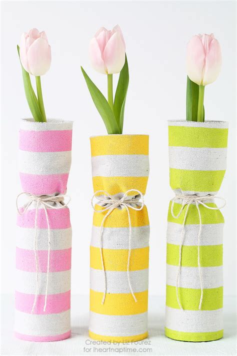 diy painted fabric covered flower vase