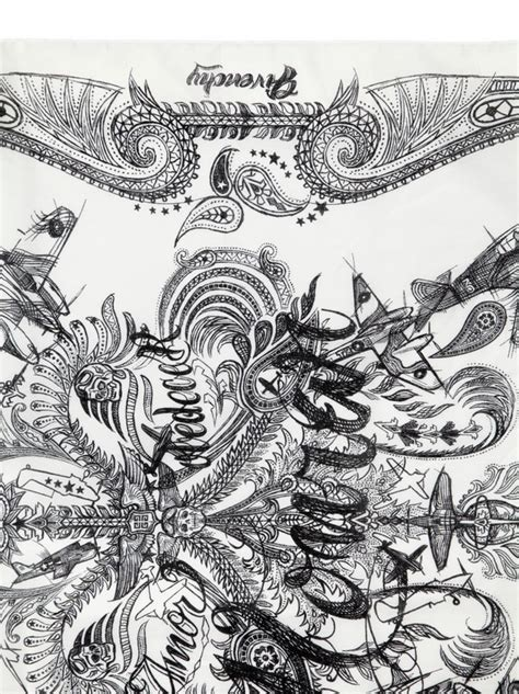 handkerchief pattern tattoo lyst givenchy honour tattoo print bandana scarf in white