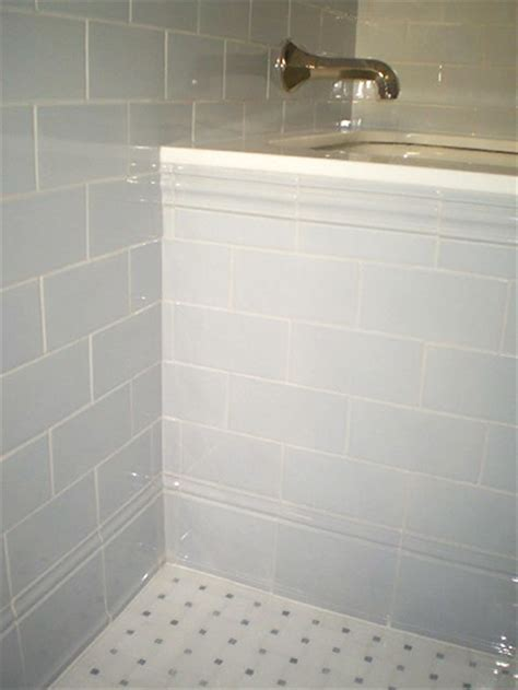 Bathroom Tile Floor Wall Transition Children S Bath Using Vermeere Ceramics 3 X 6 Subway Tile