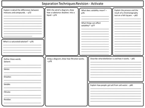 Chemistry Separation Techniques Worksheet by Ks3 Activate Science Separation Techniques Topic