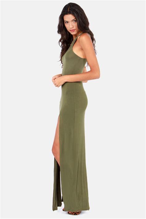 Army Maxi Dress green dress maxi dress racerback dress 41 00