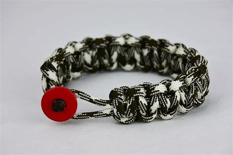 od green and white camouflage paracord bracelet unity band with red button front