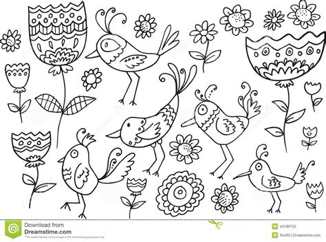 doodle bird flower bird doodle set stock vector image 44189752