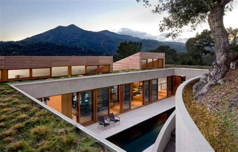 hillside california home with gorgeous outdoor spaces living roof on slope house merges beautifully with