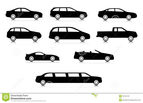 Car Types From A To Z by Silhouettes Of Different Car Types Stock Vector