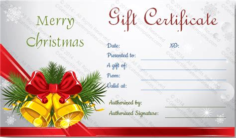 templates gift certificates christmas christmas bells gift certificate template