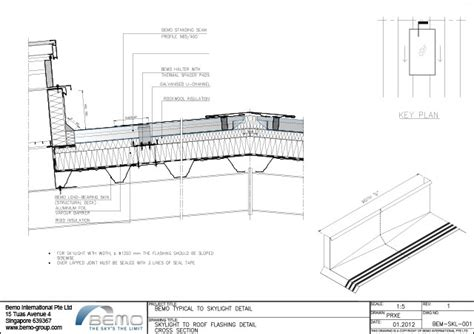 roof section detail skylight to roof flashing detail cross section bemo usa