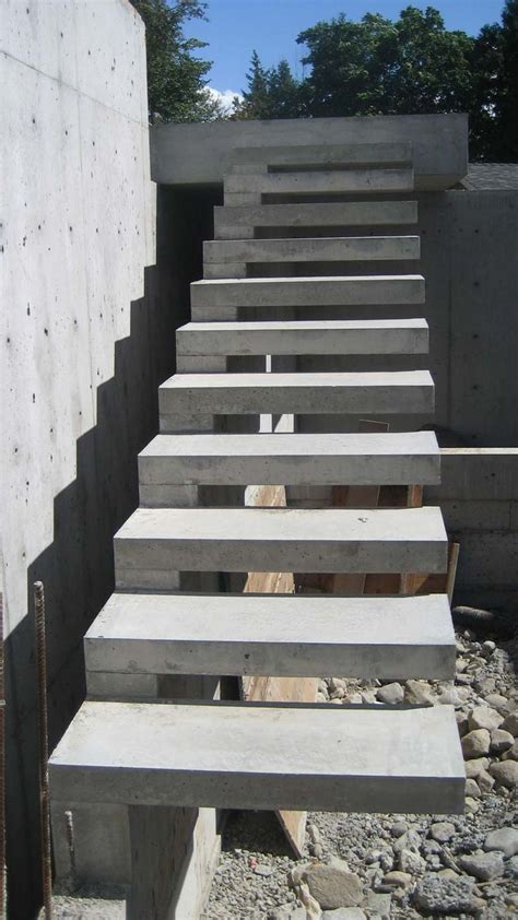 outside steps exterior concrete cantilevered stair frontal overview