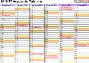 College Calendar Academic Calendars 2016 2017 As Free Printable Excel Templates