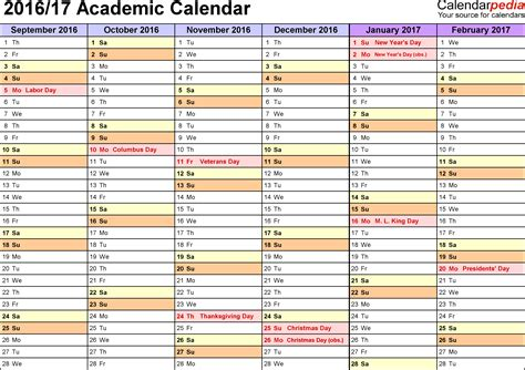 academic calendars 2016 2017 as free printable excel templates