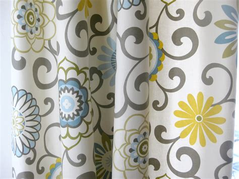 yellow and grey patterned curtains blue green yellow curtains soozone