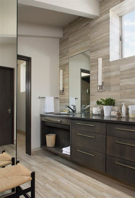 light walls dark floors bathroom contemporary with