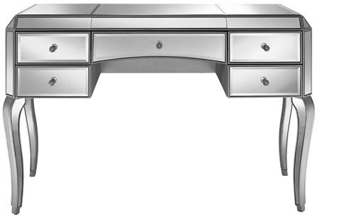 silver desk with drawers metallic silver 5 mirrored desk from pulaski ds