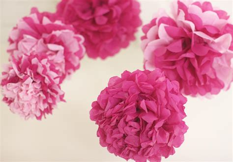 Pom Poms With Tissue Paper - pink tissue paper pom poms 5 nursery mobile baby shower