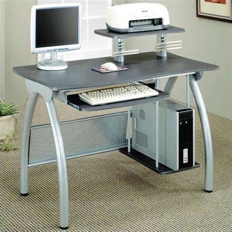 desks gray computer desk w keyboard tray computer