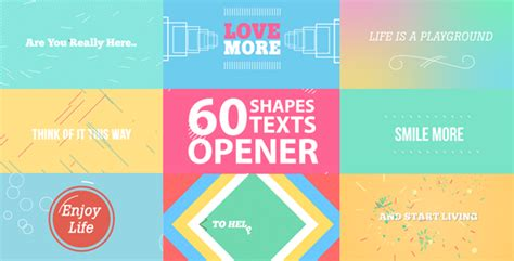 60 shapes text reveals and transition opener openers