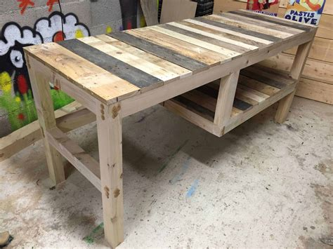 desk made from pallets pallet desk with integrated shelf 1001 pallets