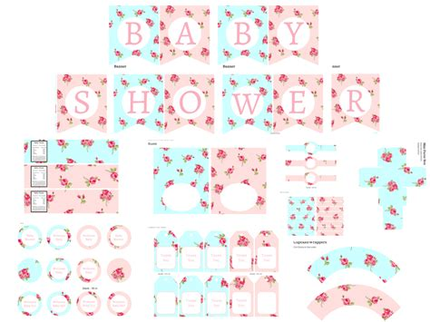 free shabby chic printables baby shower ideas themes games