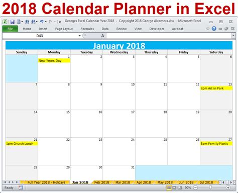 2018 Excel Calendar Year Template Printable Monthly Calendar Spreadsheet Software 2018 Calendar Template Excel